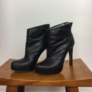 BCBG black leather Stiletto Booties